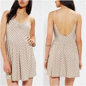 Urban Outfitters U Back Polka Dot Mini Dress Tan